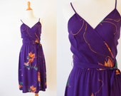 Vintage Purple  Floral Wrap Dress | Summer Challis Rayon  Dress |  Hand Printed Dress | Trumpet Lily Vine Dress