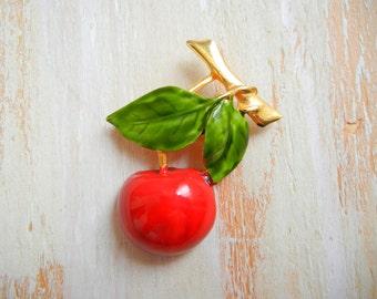 Vintage Cherry Brooch | 1990's Fruit Brooch
