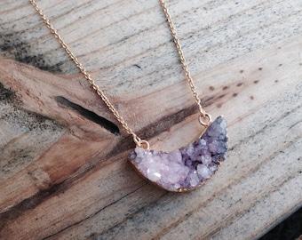 Pink And Amethyst Half Moon Druzy Necklace