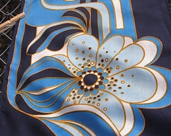 Creation elle Aime PARIS Vintage Scarf Likely Polyester No Tag Long Seventies Big Blue Gold White Floral against Dark Background
