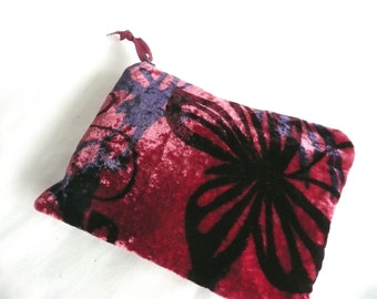 Silk velvet purse - hand printed velvet pouch - hand made pouch -  zipped purse - butterfly print silk velvet purse - hand dyed purse