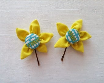Bobby Pins with Chartreuse Fabric Flowers and Covered Button Centers