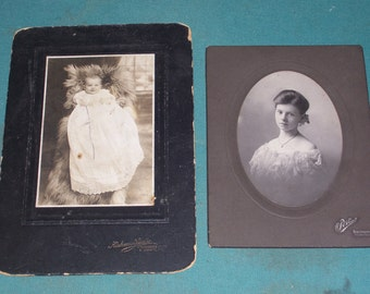 Turn of the Century Portraits...Photographs of Young Woman and Baby..Sepia and Black & White Photographs...Ephemera