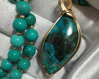 MALACHITE CHRYSOCOLLA Pendant with Turquoise BEADS Necklace 14k Yellow Gold gf