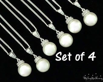 Wedding Jewelry Bridesmaid Pearl Necklace Bridesmaid Gift Set of 4 Necklaces Swarovski Crystal Pearl Necklace Bridal Jewelry Pearl 10%Off