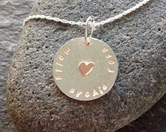 Silver hammered personalised disc with copper heart