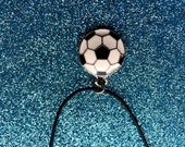 Black and White Football charm Pendant on Black Leather Pendant  18 inch Fashion Trend Necklace
