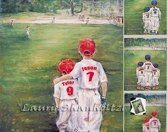 "Baseball, Personalized sports art print, Add Names, Numbers, ponytail for girls, Colors, Laurie Shanholtzer ""Someday...Little Brother"""