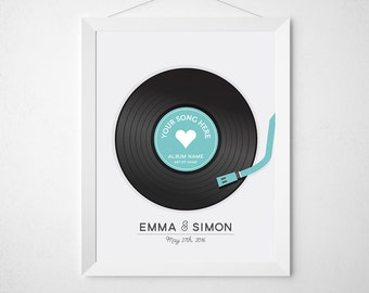 Record Wedding Print - Custom personalized art for couples - Music vinyl retro love song - newlywed engagement anniversary modern customize