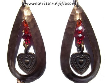 Catholic Earrings Jewelry Faux Vintage Antique with Hearts