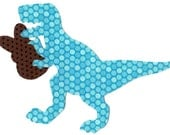Iron on fabric applique dinosaur T rex with Easter bunny DIY
