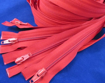 """Lot of 16 Red Zippers 19""""  NOS"""