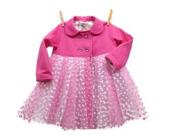 Tutu Coat, Toddler Coat, Girls Coat, Pink Coat, Pink Tutu, Toddler Tutu, Girls Tutu