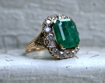 RESERVED - Massive Antique 14K Yellow Gold Diamond and Emerald Halo Ring - 6.60ct.