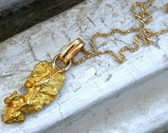 Vintage Nugget Pendant in 24K Yellow Gold with 14K Yellow Gold Chain.