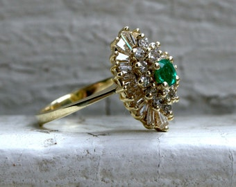 Navette Style Vintage 14K Yellow Gold Emerald and Diamond Cluster  Ring.