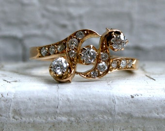Unique Swirly Antique 18K Yellow Gold Diamond Engagement Ring - 0.65ct.