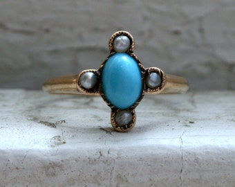 Sweet Antique 15K Rose Gold Turquoise and Pearl Ring Engagement Ring.