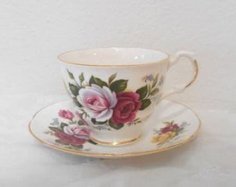 On Sale! Vintage English Bone China Teacup and Saucer, Royal Dover China Tea Cup and Saucer with Roses