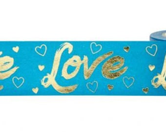 Blue and Gold Foil Love and Hearts Washi Tape, 25mm with Cutter by Little B