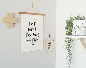 Eat Well Travel Often Typographic Print A3