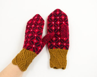 Hand Knitted Mittens, Knit Wool Gloves, Warm Rustic Mittens - Red, Brown and Black, Size Large