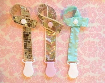 The glamour Pacifier clip/ binky clip/ pacifier strap/ pacifier holder