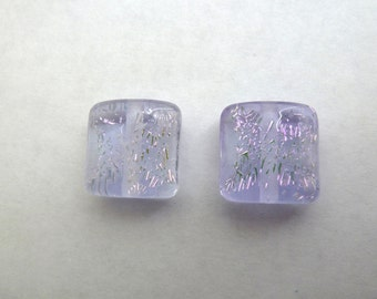 lilac sparkle pair handmade lampwork glass beads