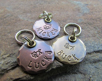 Small Pet Tag - Cat Tag - Small Dog Tag - Pet ID - Collar Tag - Dog Collar Tags - Hand Stamped tag - The Mad Stampers Tags - Dog Collar Tag