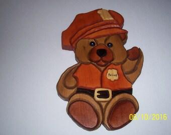 Wooden Policeman Teddy Bear