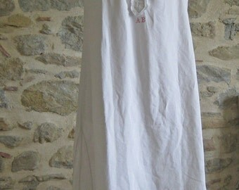 Antique French linen nightdress red monogram AB chemise rustic country charm