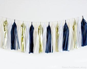 Navy Blue, White, Cream, Gold Tissue Paper Tassel Garland- Wedding, Birthday, Bridal Shower, Baby Shower, Garden Party Decorations
