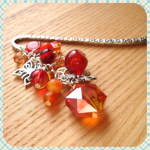 Unique Bookmark with Orange Beads - Butterfly Charm - Glass Bead Cluster - Fashion Accessories - Gift For Her - Vivid Orange Crystal