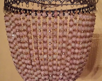 SALE! Beautiful Rose Quartz and Amber Crystal Bead Artisan Chandelier