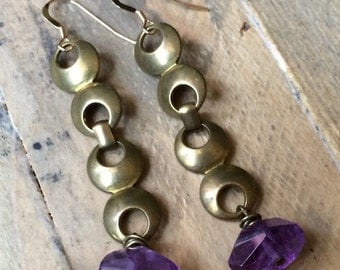 Faceted Amethyst purple vintage brass circle chain earrings