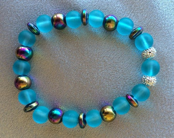 Frosted Turquoise, Magnetic, Glitter Beaded Stretch Bracelet