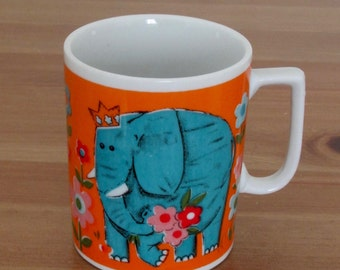 Child's Mug Circus Time Blue Elephant Made in Japan Vintage