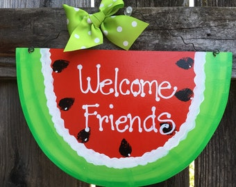 WELCOME FRIENDS WATERMELON Sign Summer personalized for free country wood crafts Decoration porch door mesh wreath accent plaque