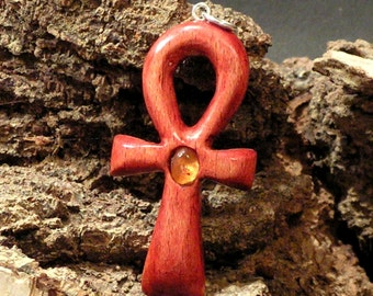 Ankh Egyptian symbol Red hand carved wooden pendant