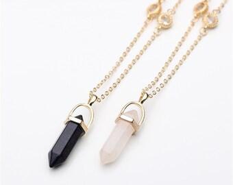 Natural stone crystal boho long necklace - Crystal long necklace - Crystal point pendant necklace