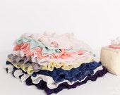 Small Ruffle Fabric Scrap Bag - 2 inch Ruffle Fabric Scraps | Approx. 8+ inches each | Grey Yellow Mint Blue - item 13
