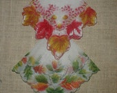Two Vintage Nylon Hankies/Handkerchiefs *Leaf Design* Pretty For Fall!