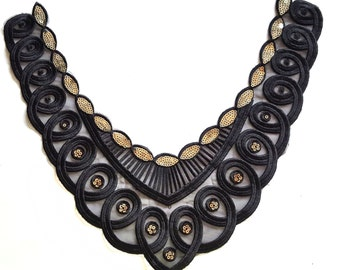 Gold and Black Sewing Applique, Fancy Yoke Collar, Black Necklace Collar