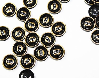 Small Black and Gold 2 Holes Sewing Buttons 30 pcs