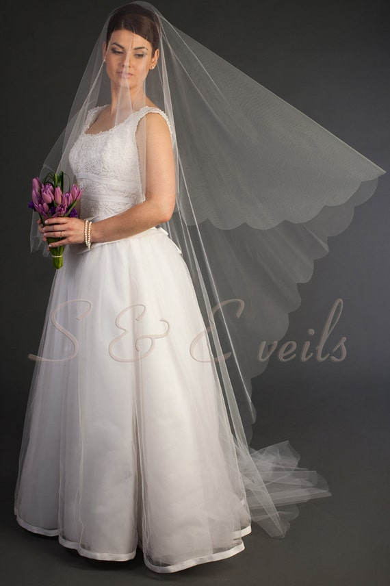 2-Tier CATHEDRAL DROP Veil w/ SCALLOPED edging, bridal veil, wedding veil, floating veil, blusher veil, champagne, blush, ivory color