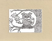 ACEO,  ATC, Owl, Art Trading Card, Hand Drawn, Kid Friendly, Black and White, Bird