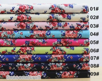 Flower Rose Cotton Fabric, Stretch Cotton Fabric, diy,Sewing 1/2 yard (QT720)