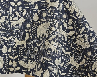 Retro Cotton Canvas Fabric, Dark forest Style, Animals, Navy Blue Color Canvas fabric,1/2 Yard (QT849)