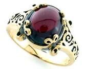 Vintage Garnet Ring, 9ct 9K 14K 18K Platinum, Gold Garnet Ring, Cabochon Ring, Antique Womens Ring - Avail in Various Gems - R184, Custom