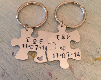 Puzzle Piece key chain. SALE. His and Hers. Wedding Gift. Anniversary Gift. Personalized Key Chain. Couples gift